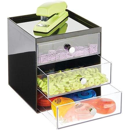 mDesign boite de rangement bureau avec 3 tiroirs – tiroir de rangement pour stylos, trombones, bloc-notes, etc. – meuble à tiroir compact en plastique pour le bureau – noir et transparent