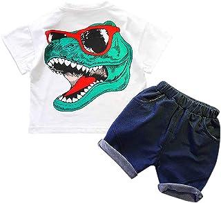 Mimoonkaka 子供服 男の子 Tシャツ パンツ ショーツ 上下セット 半袖 恐竜 出産祝い ギフト 通園 通学 キッズ ベビー服 普段着 旅行 可愛い 夏