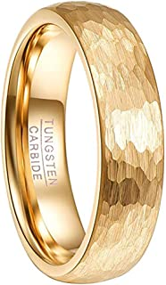 6mm 18k Gold Plated Hammered Tungsten Carbide Ring Domed Comfort Fit Engagement Ring Size 5-12