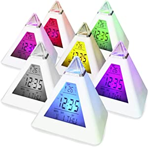 Digiflex Orologio sveglia digitale cambia colore a 7 LED TRIXES a forma di piramide
