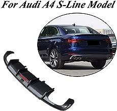 JC SPORTLINE fits A4 B9 Sline CF Rear Diffuser, fits Audi A4 B9 S line Sedan 4 Door 2017-2019 Carbon Fiber Rear Lower Lip Spoiler Valance Bumper Cover Protector