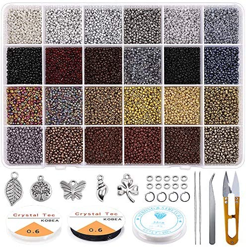 Yholin Glass Seed Beads Started Kit 19200pcs 2mm 12 0 Small Craft Beads with Jump Rings Charms product image