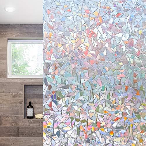 Funfox 3D Regenbogen Fensterfolie Sichtschutzfolie Milchglasfolie Selbstklebend Blickdicht Fenster Scheibenfolie Anti-UV Statische Folie Regenbogen Dekorfolie 44.5 x 200cm