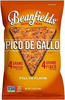 Beanfields Bean Chips, High Protein and Fiber, Gluten Free, Vegan Snack, Pico de Gallo, 5.5 Ounce (Pack of 6)