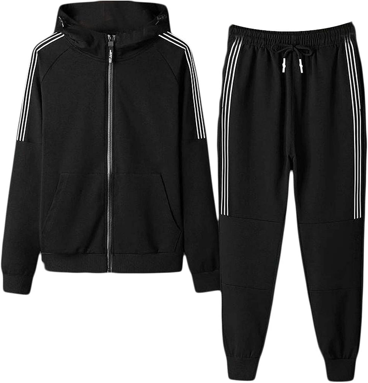Pandapang Mens Hooded Stripe Sport Sweatshirt 2 Piece Sweat Tracksuit Set