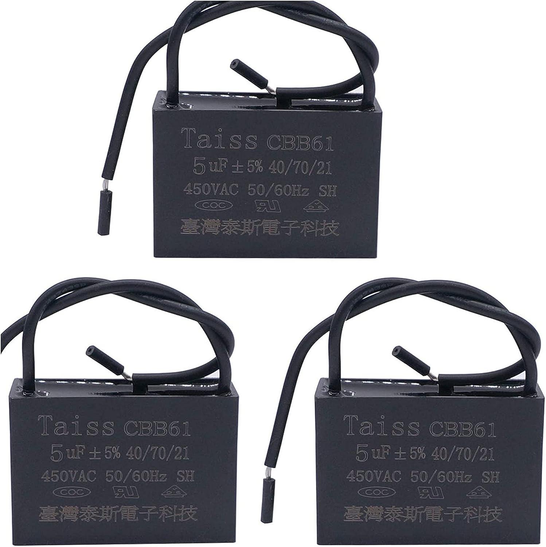 CGSA CBB61 4. Condensador de Ventilador de Techo 5UF para New Tech 2 Wire 50 / 60Hz 45 0VAC (Size : 3pcs-5uf)