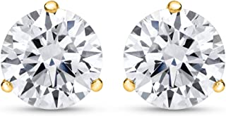 1/4-2 Carat Total Weight Round Diamond Stud Earrings 3 Prong Martini Push Back (F-G Color SI1-SI2 Clarity)