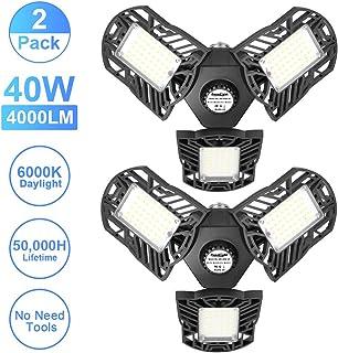 2 Pack 40W LED Garage Lights, Axcelight 4000LM 3 Multi-Position Panels Deformable Garage Ceiling Lighting, 6000K Daylight White with Wide Coverage Angle for Garage Warehouse Workshop Basement Gym Shop