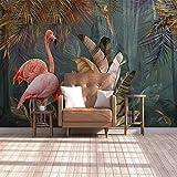 Papel Pintado Personalizado 3D Cartel Mural Papel Pintado Planta Tropical Bosque Plátano Hoja De Flamenco Papeles De Pared De La Casa Para La Sala De Estar Dormitorio,140Cm (W) X 70.5Cm(H)
