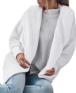 Womens Fuzzy Open Front Outwear Hood Cardigan Jacket Coat