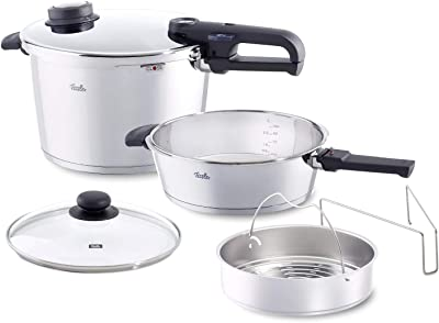 Fissler vitavit premium 6 Piece Pressure-Cooker Set (6.4qt & 2.7qt) with Glass Lid, Insert, Stainless Steel Induction, Silver