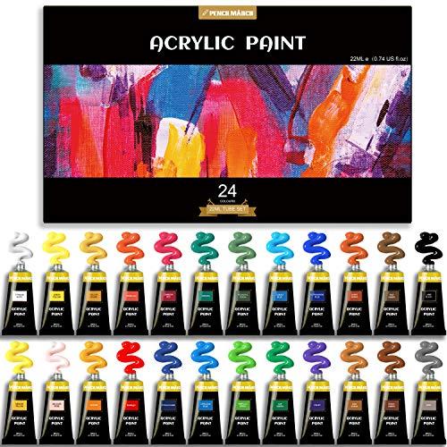 PENCILMARCH Set Vernici in Acrilico 22ml *24 Colori - Mescolabile con Pigmenti di Alta Qualità e Colori Vibranti - Perfetta per Tela, Legno, Tessuto, Pelle, Cartoncino, Carta, MDF e Bricolage