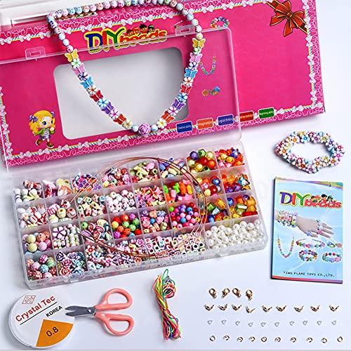 SHJOEE Perlen zum Auffädeln Kinder DIY Perlen Set Halsketten Haarband Armbänder Selber Machen Schmuck Schnurset Mädchen 32 Grid Buchstaben Perlenschmuck Schmuckbasteln Geburtstagsgeschenk