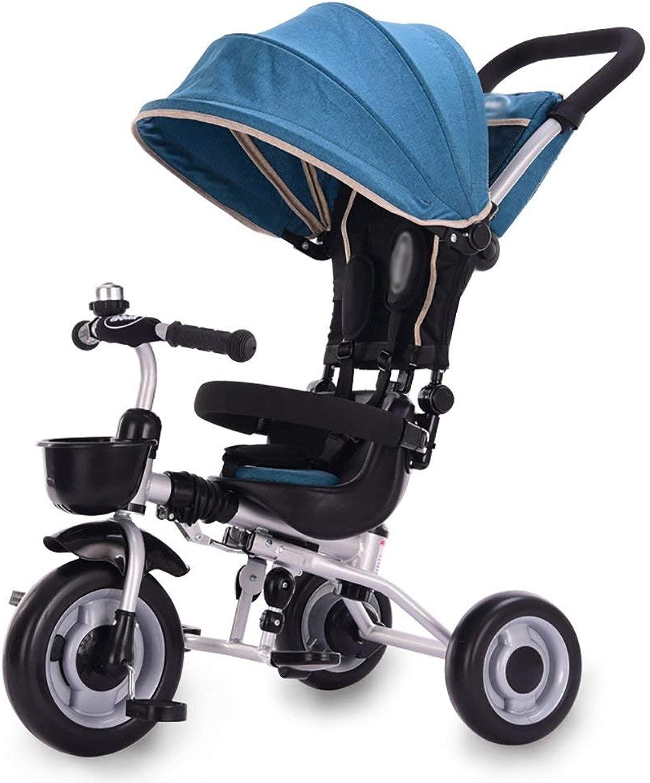 幼児向けトライク、子供用子供用三輪車自転車ベビーペダル車軽量折りたたみトロリースカイライト付き2-5歳(色:青)