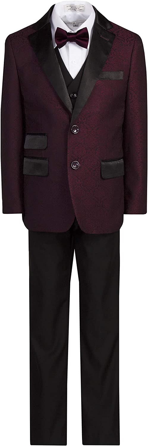 Boys Paisley 2 Button Notch Tuxedo Suit in Burgundy or Navy Blue
