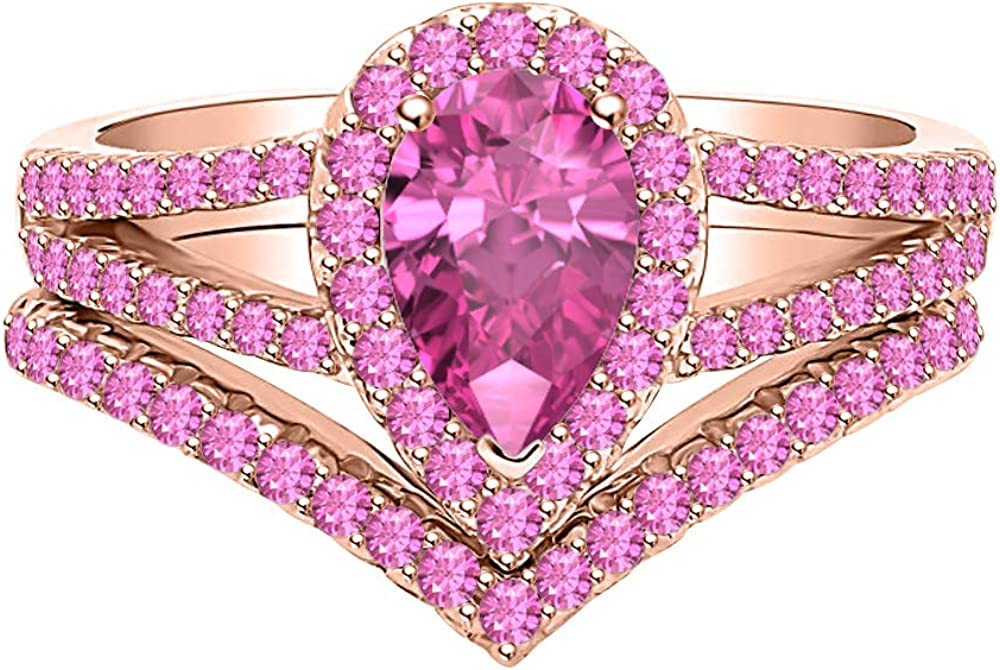 Very popular SVC-JEWELS Wonderful Pear Rare Pink Sapphire 14k Rose Gold Plated 5x7