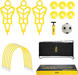 A11N Soccer Training Set-Includes 3 Training Mannequins, 6 Passing Arcs, 6 Disc Cones, 1 Mini Soccer Ball and Pump, 1 Drawstring Bag| Great for Kids Ages 5-7