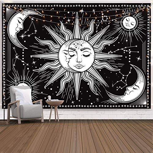 INTDORM Zon en Maan Tapestry Zwart en Wit Tapestry Constellation Tapestry Astrologie Tapestry Psychedelisch Mystic…