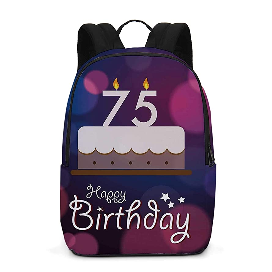 75th Birthday Decorations Durable Backpack,Abstract Artistic Background with Graphic Cake Candles for School Travel,One_Size