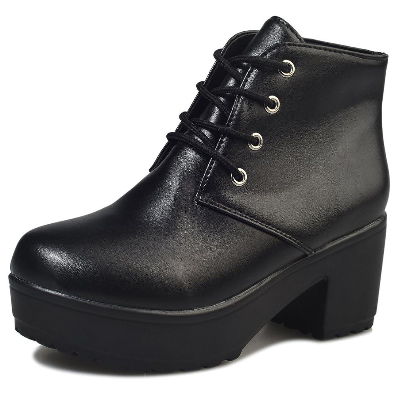 失態錆びドーム[WOOYOO] 22.5cm~25.5cm かわいい ブーティー 厚底靴 ショートブーツ レースアップ レディース ワークブーツ チャンキーヒール カジュアル ブーティー オシャレ 大きいサイズ 黒?白