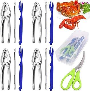 Crab legs crackers and tools, Angela&Alex 14 PCS Seafood Tools Set 4 Crab Crackers, 4 Lobster Shellers, 4 Crab Leg Forks/P...