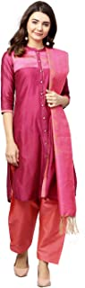 Jaipur Kurti Women's Silk Straight Salwar Suit Set