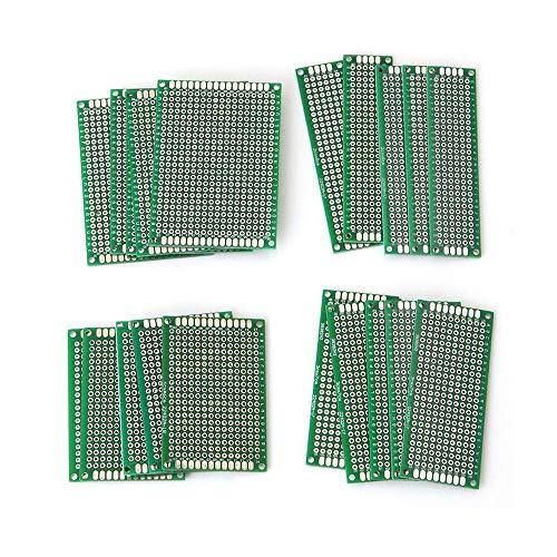 20PCS Protoboard, Doppelseitige Leiterplatten, Prototyping Board Perforated Cards, 4 Größen Universal Prototype Board, für DIY-Löten und elektronische Projekte