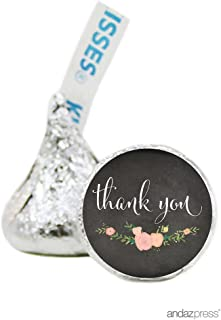 Andaz Press Chalkboard Floral Party Wedding Collection, Chocolate Drop Labels for Hershey's Kisses Party Favors, Thank You, 216-Pack, Baby Bridal Shower Engagement Decor