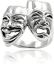 Blue Apple Co. Tragedy Comedy Theater Mask Happy Sad Ring 925 Sterling Silver