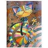Pintar por números Adultos Animales Gato – Cuadros para Pintar por números con Pinceles y Colores Brillantes - Lienzos para Pintar con Dibujo - Sin Marco