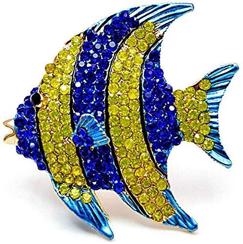 necklace Collar de Moda para Mujer Broches del Rhinestone Tropical Fish broches for Las Mujeres Grande Linda joyería Escudo Partido Broche Animal Accesorios Nombre: Rose Izar