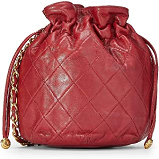 Red Quilted Lambskin Bucket Bag Mini (Pre-Owned)