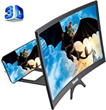 12'' 3D Curve Screen Magnifier for Cell Phone, HD Amplifier Projector Magnifing Screen Enlarger for Movies, Videos, and Gaming with Foldable Stand Compatible with All Smartphones (Black, 12 inch)