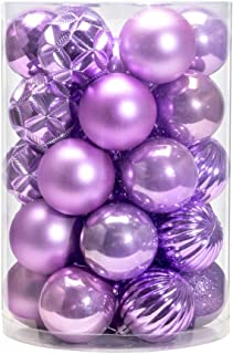 AMS 2.36''/34ct Christmas Ball Mini Ornaments Party Decoration Shatterproof Festival Widgets Pendant Hanging (60mm, Light Purple)