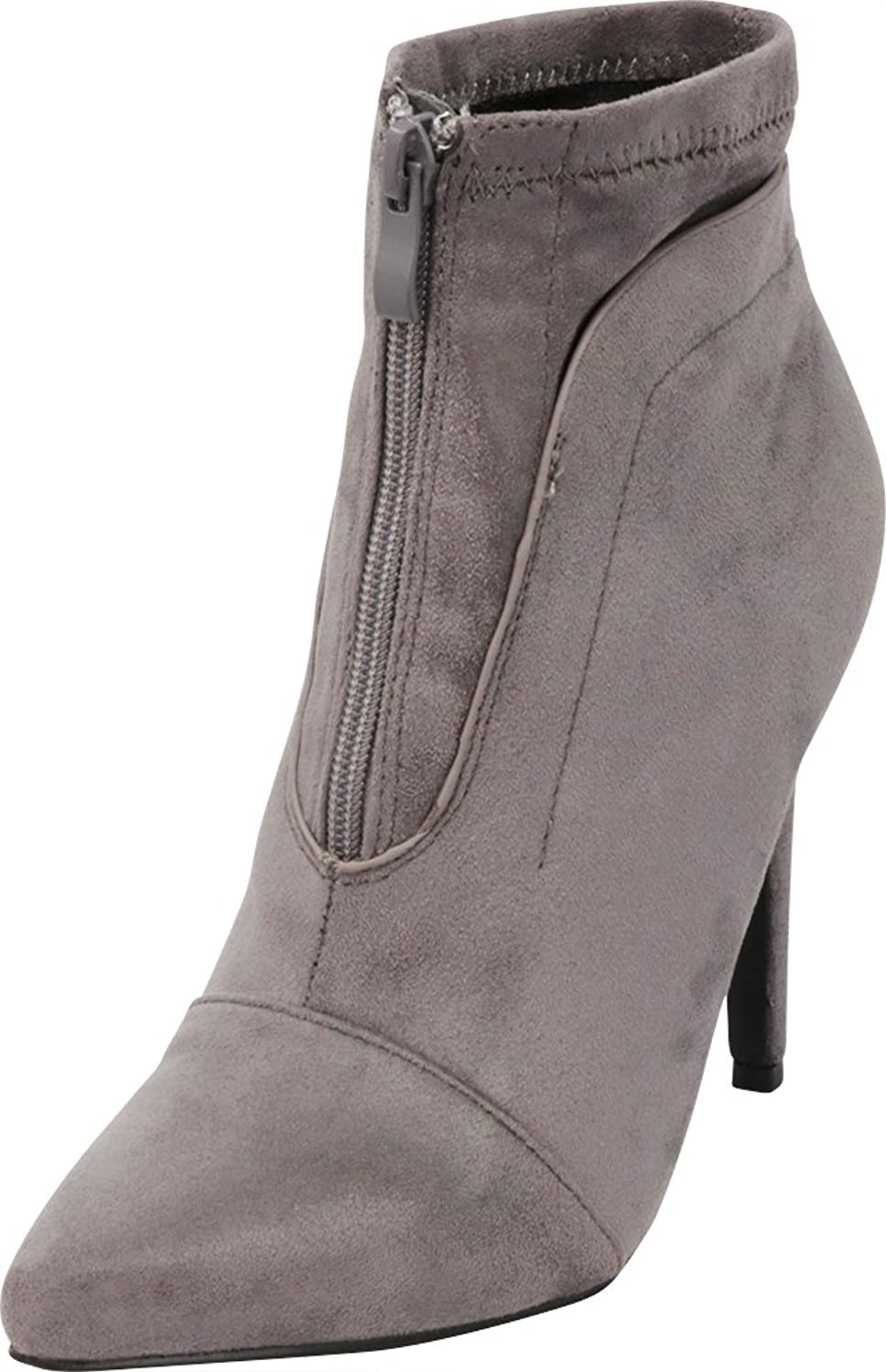 Cambridge Select Women's Closed Pointed Toe Front Zip Stiletto High Heel Ankle Bootie