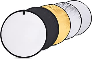 Andoer 24-Inch 60cm 5 in 1 with Gold Silver White Black and Translucent Portable Photography Light Reflector for Studio Photo Lighting Collapsible