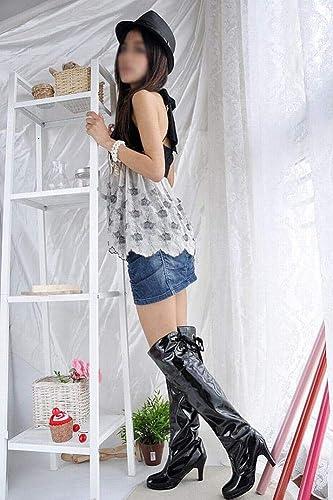ZHRUI zapatos de mujer - botas Sobre la Rodilla para mujer botas de Invierno botas Individuales zapatos de Gran tamaño para mujer (Color   negro, tamaño   43)