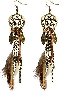 Punk Vintage Long Tassel Feather Beads Drop Wolf Tooth Pendant Earring Fish Hook Earrings