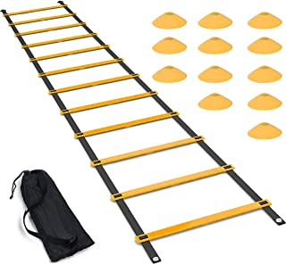 featured product Luniquz Agility Ladder Set, 20FT Speed Training Ladder with 12 Adjustable Rungs, Plus 12 Disc Cones for Soccer, Football, Sports Training - Includes Heavy Duty Carry Bag