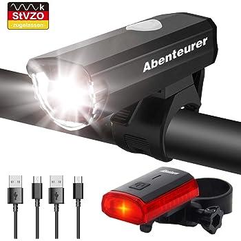wiederaufladbares USB-Fahrradlicht vorne mit LED-Display Mountainbike-Licht 5 Modi und Fahrradr/ücklicht hinten SEWOBYE Hochleistungs-LED-Fahrradlicht mit 2400 Lumen