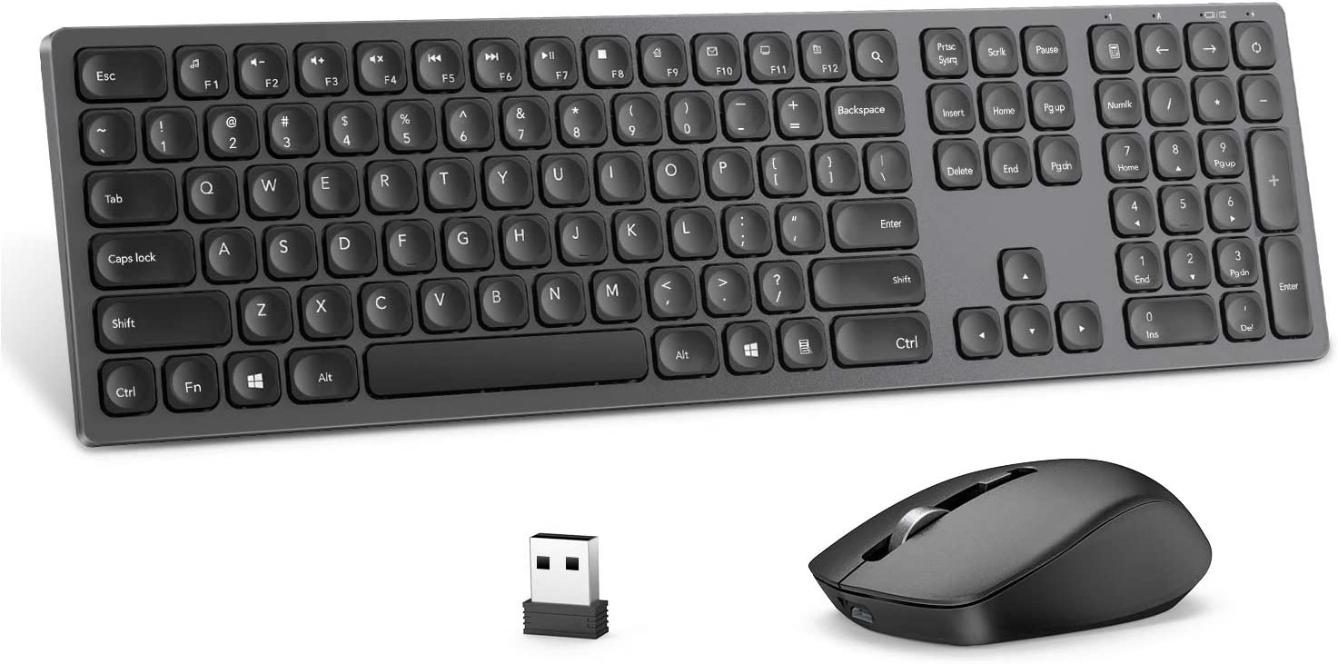 Rechargeable Wireless Keyboard Mouse Combo, seenda Ultra Quiet Full-Sized Cordless Keyboard and Mouse Set with 3 Level DPI and Long Battery Life for Windows Laptop Computer - Space Gray