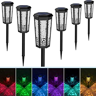 Fudosa Outdoor Pathway Lights, Solar Powered LED Garden Lights 6 Pack Waterproof Hollow Landscape Lamps for Yard Lawn Patio Walkway