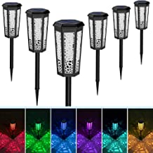 Fudosa Outdoor Pathway Lights, Solar Powered LED Garden Lights 6 Pack Waterproof Hollow Landscape Lamps for Yard Lawn Pati...