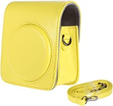 SODIAL R  Classic Vintage Compact Leather Case Bag for Fujifilm Instax Mini Instant Film Camera with Shoulder Strap yellow