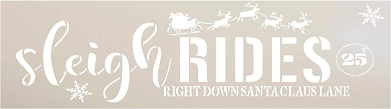 Sleigh Rides Stencil with Reindeer by StudioR12   25 Cents Santa Claus Lane Snowflake Christmas Decor   Reusable Mylar Template   Paint Wood Signs Chalk   DIY Home Crafting   Select Size (18