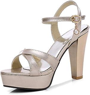 61594c1d3140a Women s Chunky High Heel Sandals Cross Strap Open Toe Dress Platform Sandal