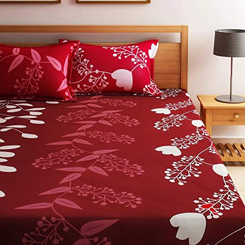 Home Ecstasy 100 Cotton Double bedsheets with 2 Pillow Covers Cotton 140tc Floral red bedsheets for Double Bed Cotton 7 3ft x 7 7ft