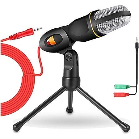 Pc Mikrofon Computer Laptop Kondensator Mikrofon Mikros Mit Ständer Und 3 5mm Klinke Gaming Microphone Mit 3 5 Mm Kopfhörer Splitter Für Besprechung Podcast Aufnahme Live Übertragung Youtube Musikinstrumente