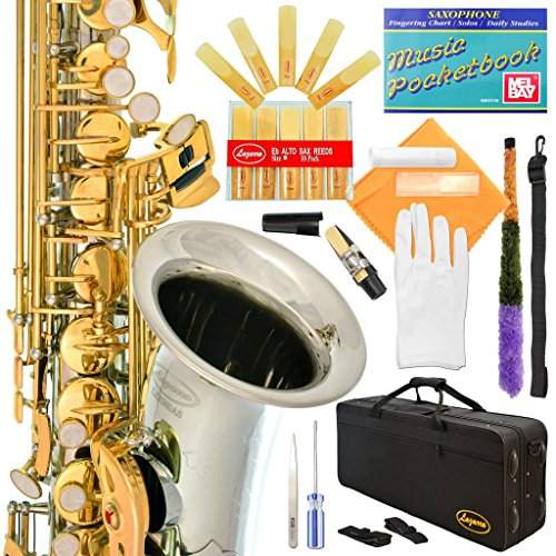 Lazarro 360-2C E-Flat Eb Alto Saxophone Silver-Gold Keys with Case, 11 Reeds, Care Kit and Many Extras