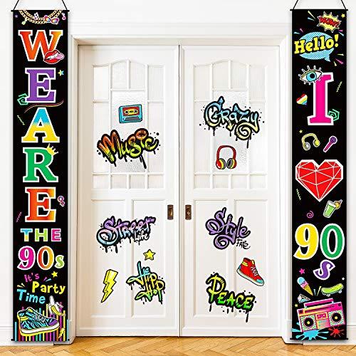 Blulu Jahre Party Szene Setter Wand Dekoration Kit Jahre Veranda Zeichen Party Tür Zeichen für Jahre Thema Party Rock Stern Geburtstag Dekoration (90 Jahre We Are 90s)